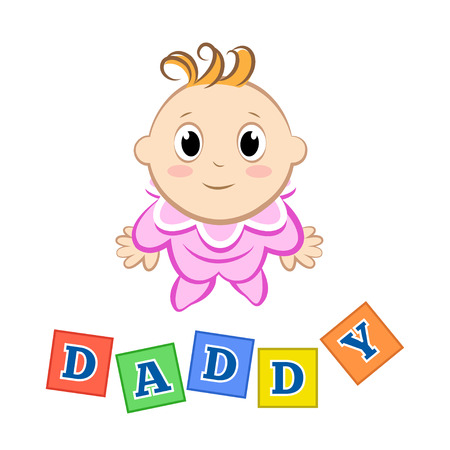 jumpsuit: Cartoon little girl with an inscription blocks on white background. Vector illustration