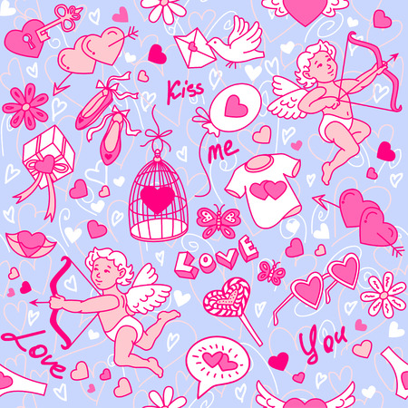 lips smile: Vector seamless pattern with angels and hearts Illustration