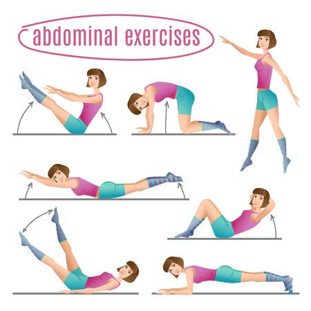 gymnastics girl: Set of exercises. Woman doing abdominal exercises