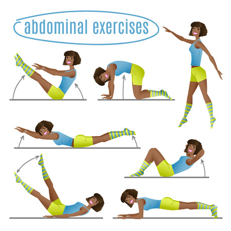 slim body: Set of exercises. Woman doing abdominal exercises