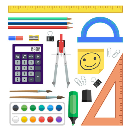 staples: Flat design vector illustration school tools on white background