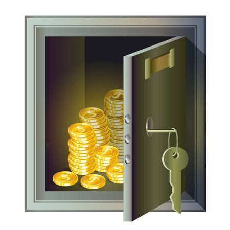 secret identities: Metallic safe with gold coins inside, a symbol of wealth and security Illustration