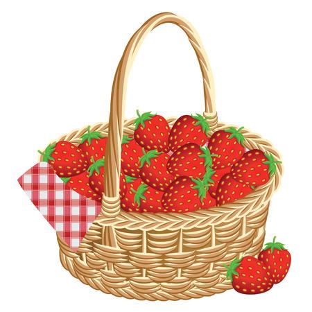ピクニックでイチゴのバスケット。ベクトル図