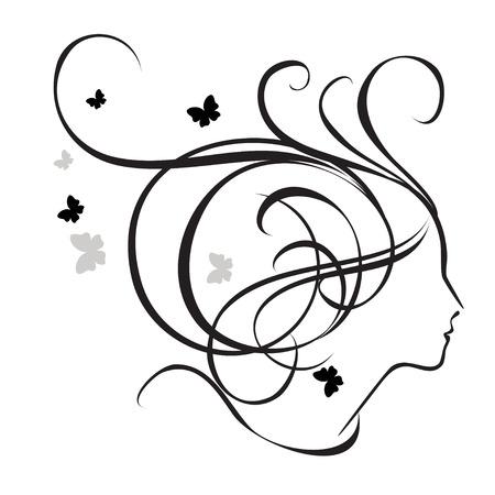 donna farfalla: Silhouette di una ragazza di profilo. Logo per saloni di bellezza