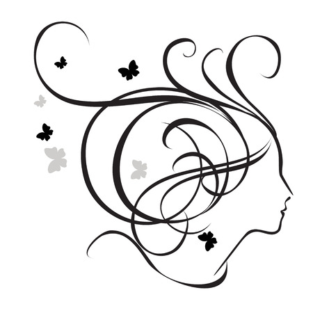 butterfly logo: Silhouette of a girl in profile. Logo for beauty salons Illustration