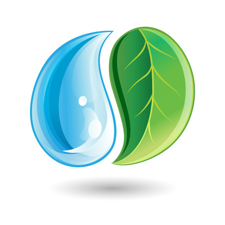 Logo with green leaf and a drop on a white background Vettoriali