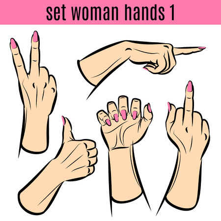 woman fist: Set of woman hands in various gestures. Vector illustrations