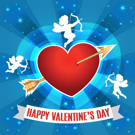 white day: Heart with arrow and silhouette of a cupids for Valentines day