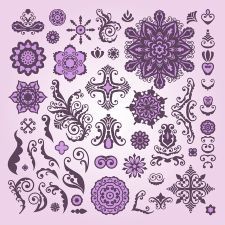 embellishment: Abstract Floral Illustration Design Elements on white background. Lacy embellishment