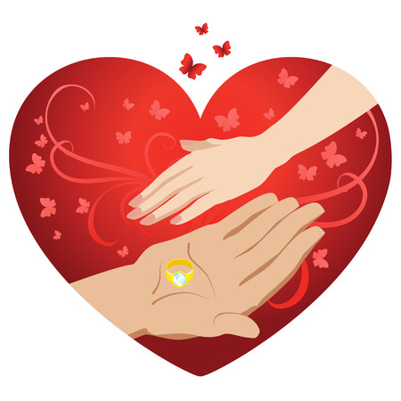 engagement cartoon: Male and female hand on a background of hearts. Vector illustration