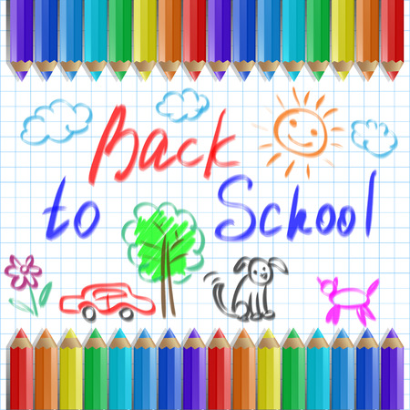 teaching crayons: Back to school, vector illustration