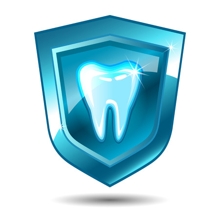 blue tooth: Tooth on a blue shield