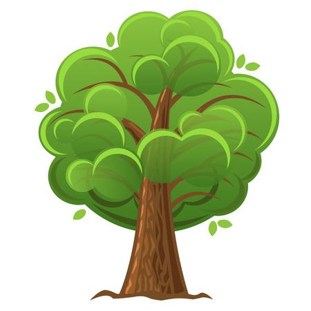 豊かな葉を持つ漫画ツリー、緑のオークの木。ベクトル図  イラスト・ベクター素材