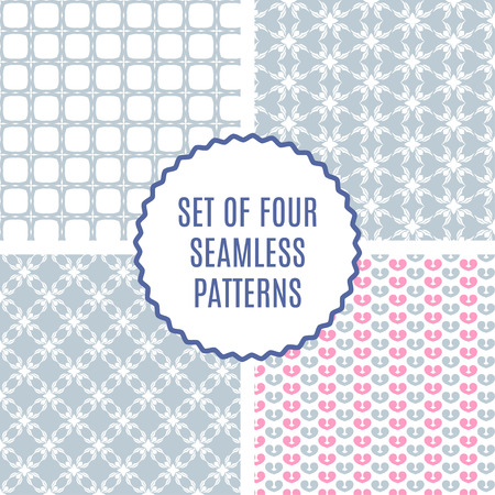 scrap: Vector set of four Cute Patterns. Seamless texture for paper or scrap booking