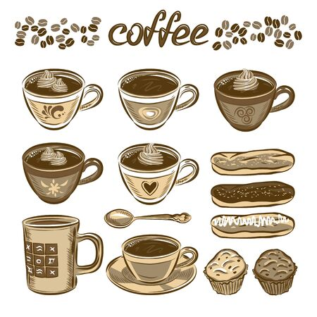 cup cake: Hand drawn vector coffee set. Coffee cups and cakes