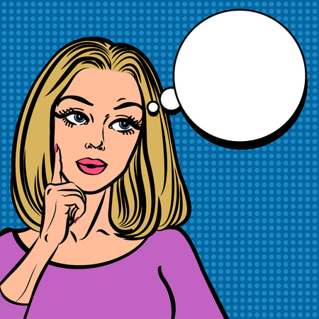 contemplate: Comic girl with speech bubble. Pop Art Woman sign Illustration
