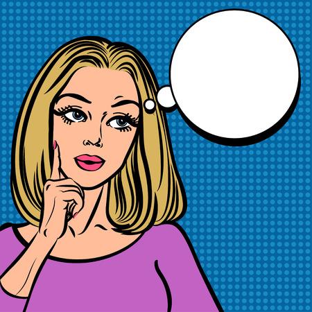 Comic girl with speech bubble. Pop Art Woman sign Illustration