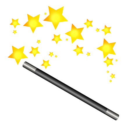 magic trick: Magic wand and stars, vector illustration