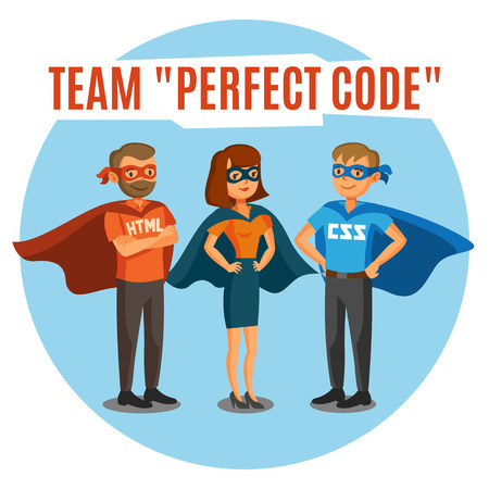 Programmers, developers, process coding, teamwork. Programming concept