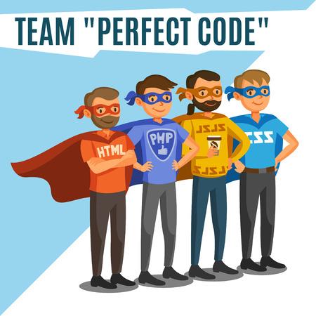 Programmeurs, ontwikkelaars, proces-codering, teamwork. Programmeringsconcept Stock Illustratie