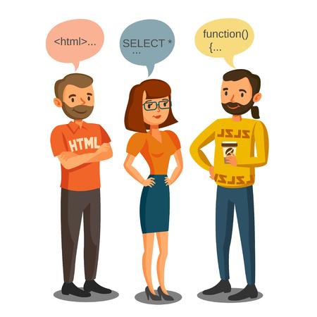 プログラマ、開発者は、コーディング、チームワークを処理します。通信の概念  イラスト・ベクター素材
