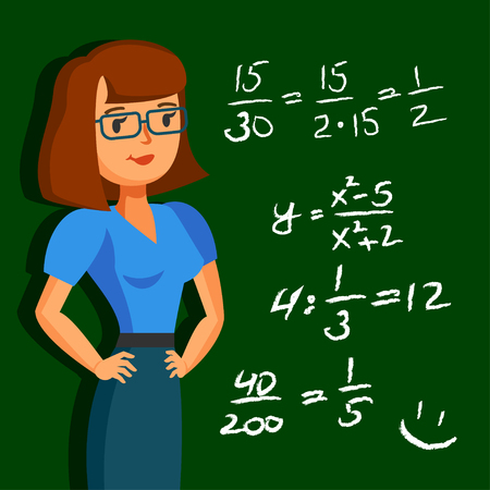 cartoon board: Young, pretty teacher on the background blackboard with examples