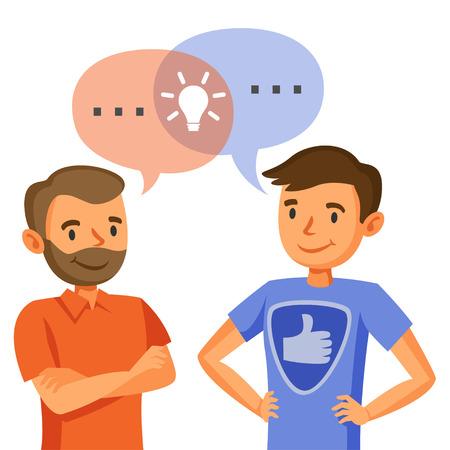 comunicar: Dos hombres hablan, la discusión, el intercambio de ideas, el trabajo en equipo, y programadores Vectores