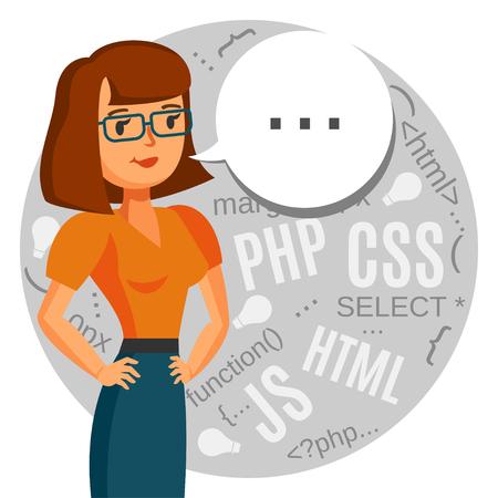 Eine weibliche Programmierer, Computerfreak, kodierer, Call-Center-Support Standard-Bild - 44675897