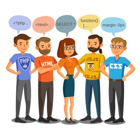 Programmeurs, ontwikkelaars, proces codering, teamwork. communicatie concept Stock Illustratie