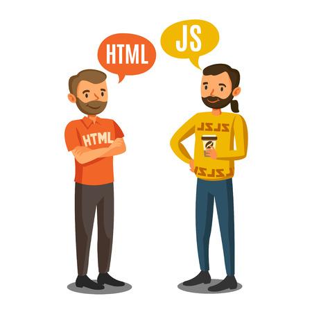 developers: Programmers, developers, process coding, teamwork. Communication concept