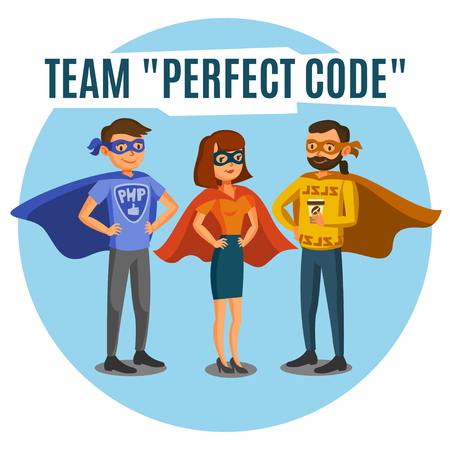 プログラマ、開発者は、コーディング、チームワークを処理します。プログラミングの概念  イラスト・ベクター素材