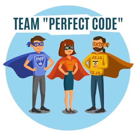 teamwork cartoon: Programmers, developers, process coding, teamwork. Programming concept
