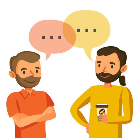 二人の男の話、議論、アイデア、チームワーク、およびプログラマの交換  イラスト・ベクター素材