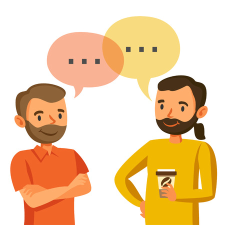personas comunicandose: Dos hombres hablan, la discusión, el intercambio de ideas, el trabajo en equipo, y programadores Vectores