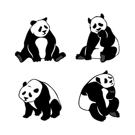 panda bear: Set of stylized panda bears, vector silhouettes