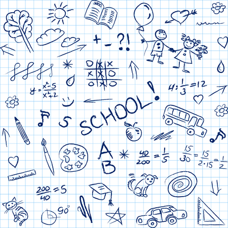 hand pencil: Back to school doodles in notebook, seamless pattern. Vector illustration