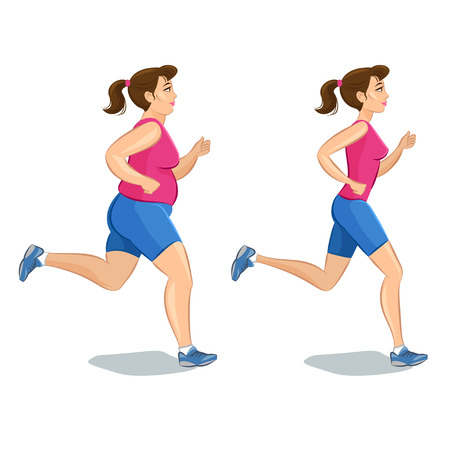 loss: Sporty jogging woman, before and after, loss weight cardio training. Vector illustration