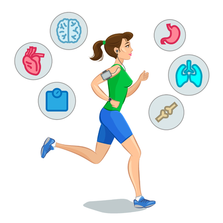 people: Jogging woman,running infographic elements, loss weight cardio training. Vector illustration