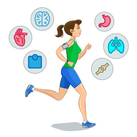 persona respirando: Mujer que activa, corriendo elementos infogr�ficos, entrenamiento cardio p�rdida de peso. Ilustraci�n vectorial Vectores