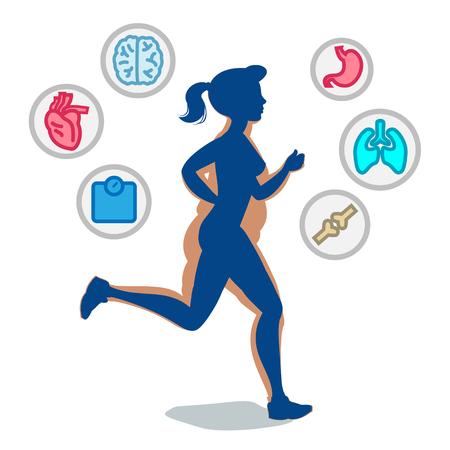 Mujer que activa, corriendo elementos infográficos, entrenamiento cardio pérdida de peso. Ilustración vectorial Ilustración de vector