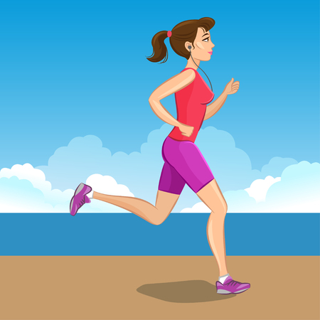 cross street with care: Active sporty young jogging woman, loss weight cardio training. Vector illustration