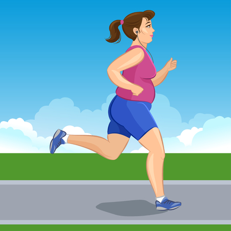 cross street with care: Active fat young jogging woman, loss weight cardio training. Vector illustration Illustration