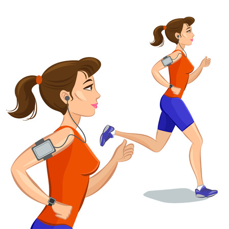 smart woman: Young jogging woman, loss weight cardio training with smart device. Vector illustration
