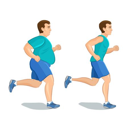 ジョギング、重量損失概念、カーディオ トレーニングの前に、と後は健康意識したコンセプトの走っている男、漫画男の図