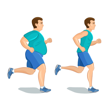loss: Illustration of a cartoon man jogging, weight loss concept, cardio training, health conscious concept running man, before and after