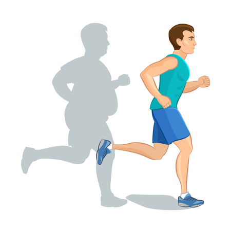 conscious: Illustration of a cartoon man jogging, weight loss concept, cardio training, health conscious concept running man, before and after