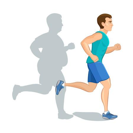 Ilustración de un jogging hombre de la historieta, el concepto de pérdida de peso, entrenamiento cardiovascular, el concepto de salud consciente hombre corriente, antes y después