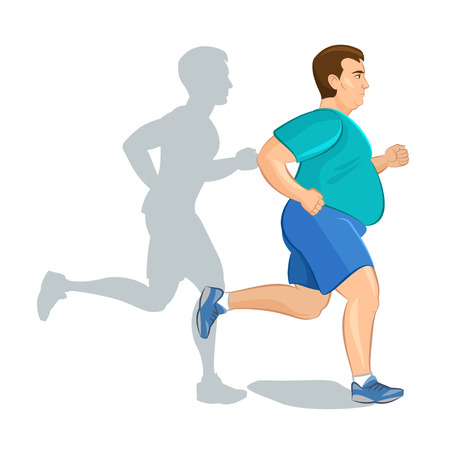 Ilustração de um homem gordo dos desenhos animados, jogging, conceito de perda de peso, cardio-training, conceito consciente de saúde executando o homem, antes e depois Ilustración de vector