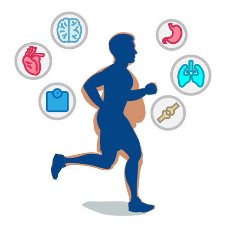 weight loss man: Jogging man, running infographic elements, loss weight cardio training. Vector illustration.