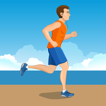endurance run: Illustration of a cartoon man jogging, weight loss concept, cardio training, health conscious concept running man, before and after
